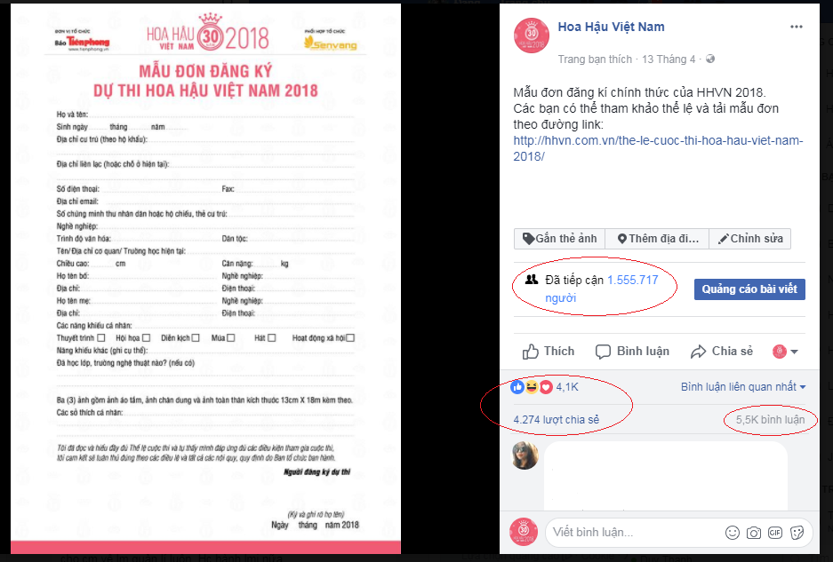 Sau 3 ngày đăng tải, mẫu đơn đăng ký Hoa Hậu Việt Nam thu hút hàng triệu cô gái quan tâm